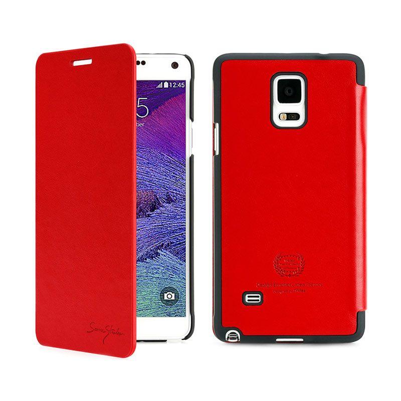Tridea Galaxy Note 4 Case Card Pocket Italian Flip Cover Red