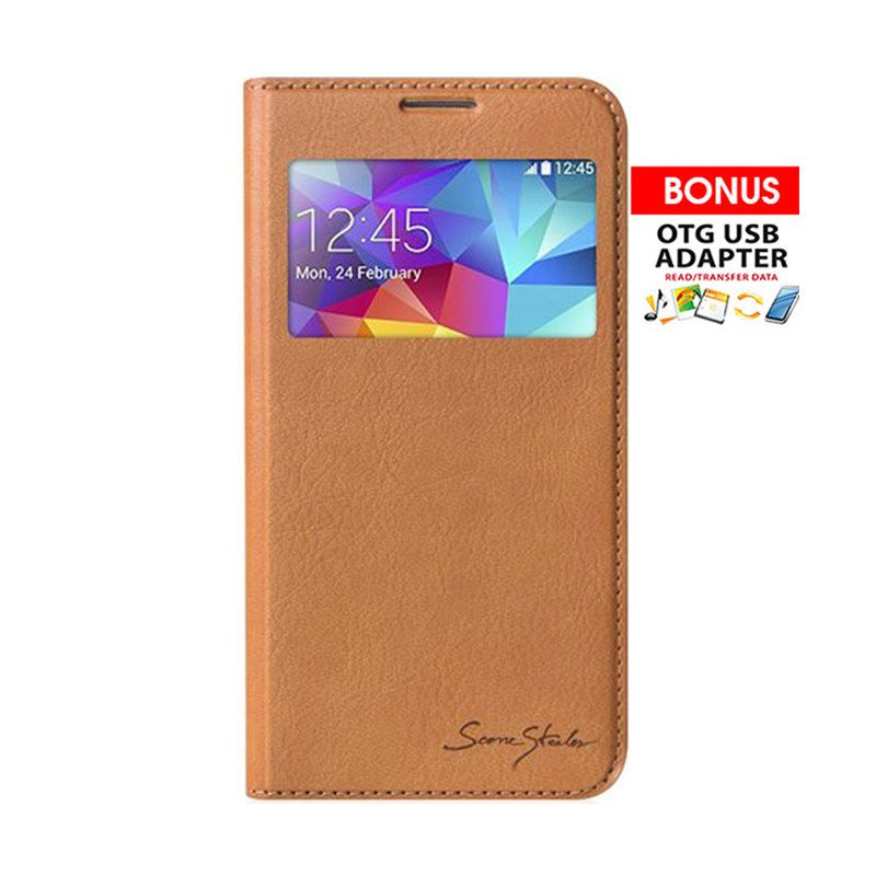 Tridea Galaxy S5 Case Card Pocket Sview Italian Flip Cover Brown Casing