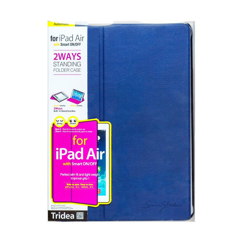 TRIDEA iPad Air Case 2Ways Standing Folder Smart Cover Navy Casing