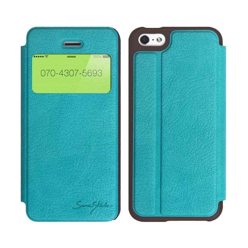 TRIDEA iPhone 5/5S Standing View Italian Flip Case Biru