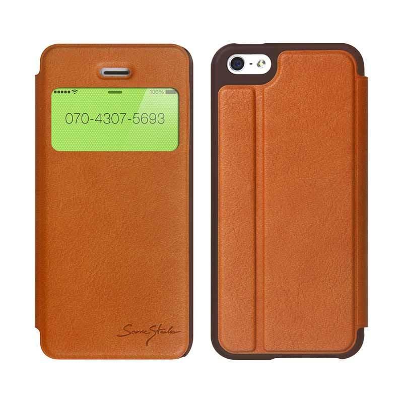 TRIDEA iPhone 5/5S Standing View Italian Flip Case Coklat