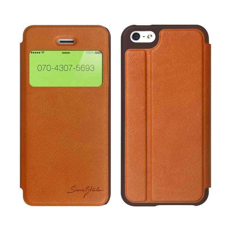 TRIDEA iPhone 5C Standing View Italian Flip Case Coklat