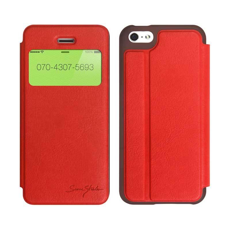 TRIDEA iPhone 5C Standing View Italian Flip Case Merah