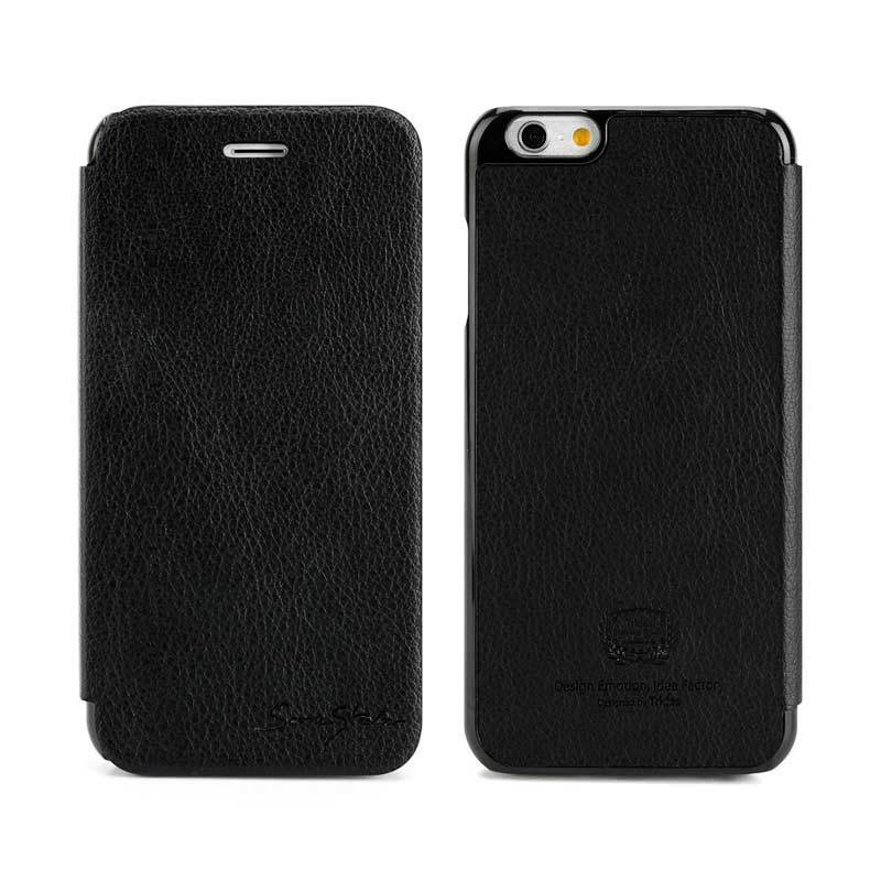 TRIDEA iPhone 6 Card Pocket Italian Flip Case Black Casing