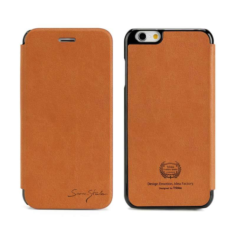 TRIDEA iPhone 6 Card Pocket Italian Flip Case Brown Casing