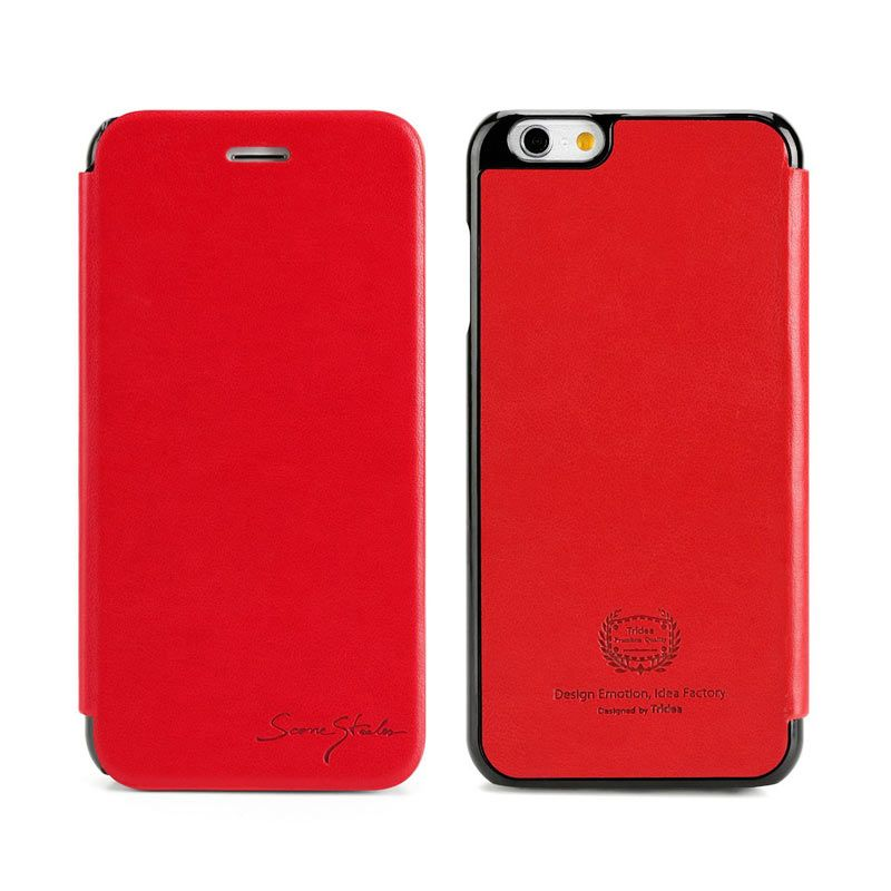 TRIDEA iPhone 6 Card Pocket Italian Flip Case Red Casing