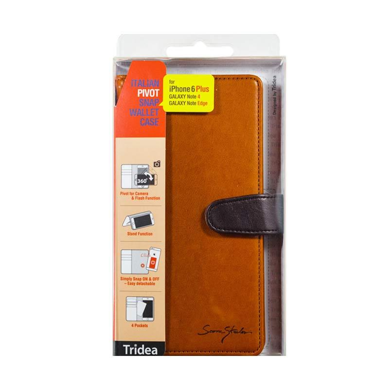 Tridea iPhone 6 Plus, Galaxy Note 4, Note Edge, Note 3, Universal (5.5 inch) Italian Pivot Snap Wallet Case Coklat