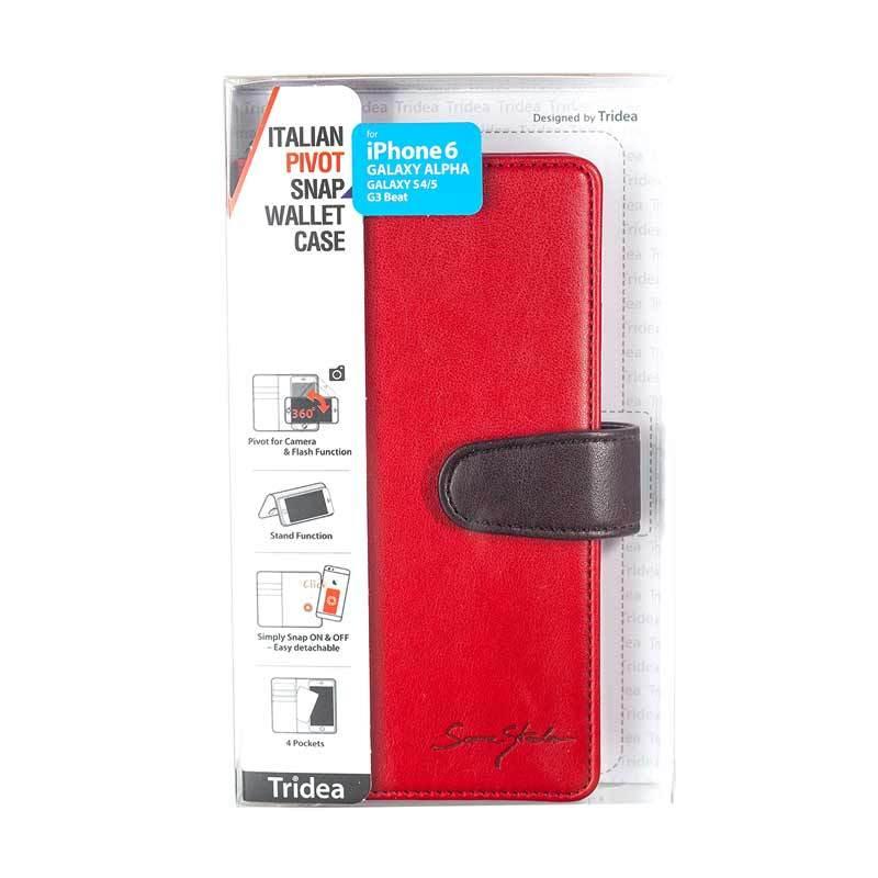 Tridea iPhone6/Galaxy Alpha/S4/S5/G3 Beat Universal (4.7Inch) Italian Pivot Snap Wallet Case Merah