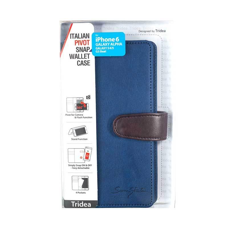 Tridea iPhone6/Galaxy Alpha/S4/S5/G3 Beat Universal (4.7Inch) Italian Pivot Snap Wallet Case Navy