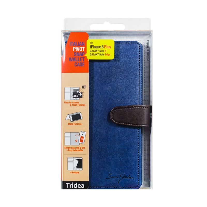 Tridea iPhone 6 Plus, Galaxy Note 4, Note Edge, Note 3, Universal (5.5 inch) Italian Pivot Snap Wallet Case Navy