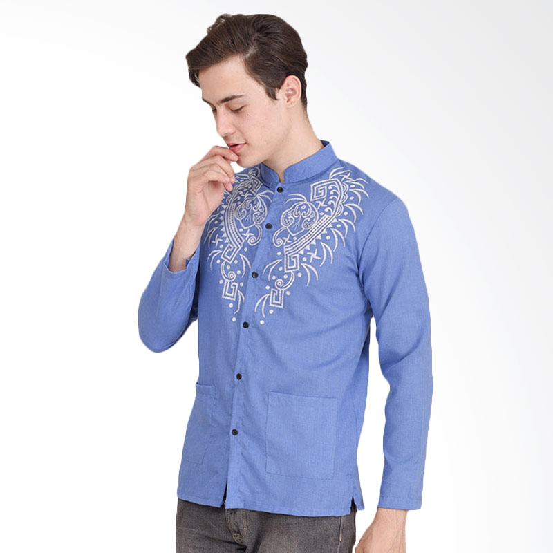 Jual Jfashion Yusuf Print Tangan Panjang Printing Baju Koko Pria - Biru  Online - Harga   Kualitas Terjamin  37e354ed15