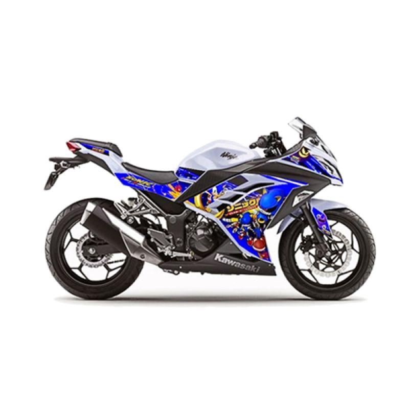 Decal Zerografix N250 FI Sonic White Blue Stiker Motor