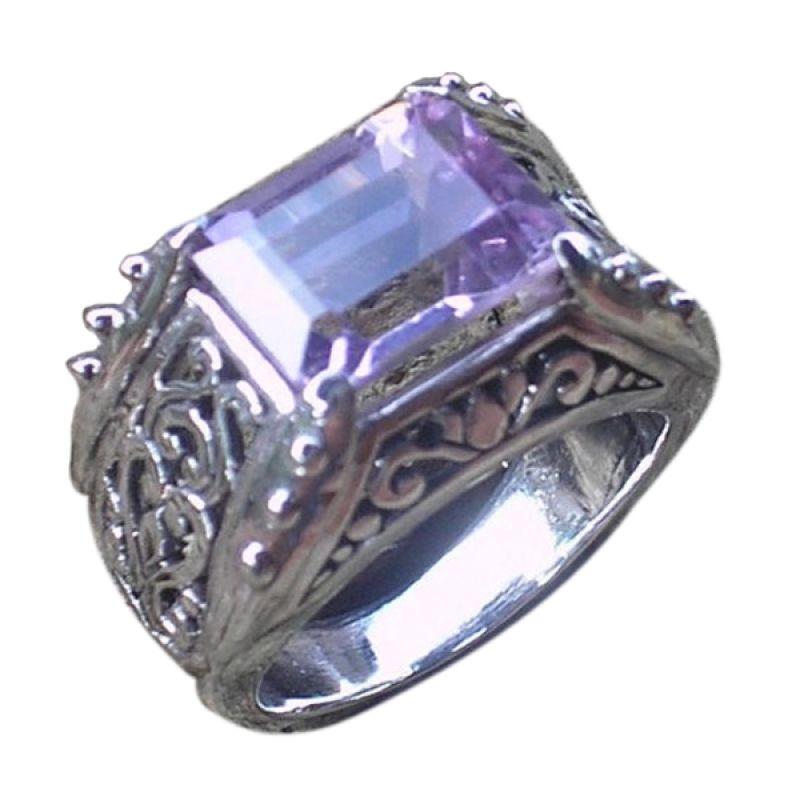 Jnanacrafts Batu Amethys Cincin Perak