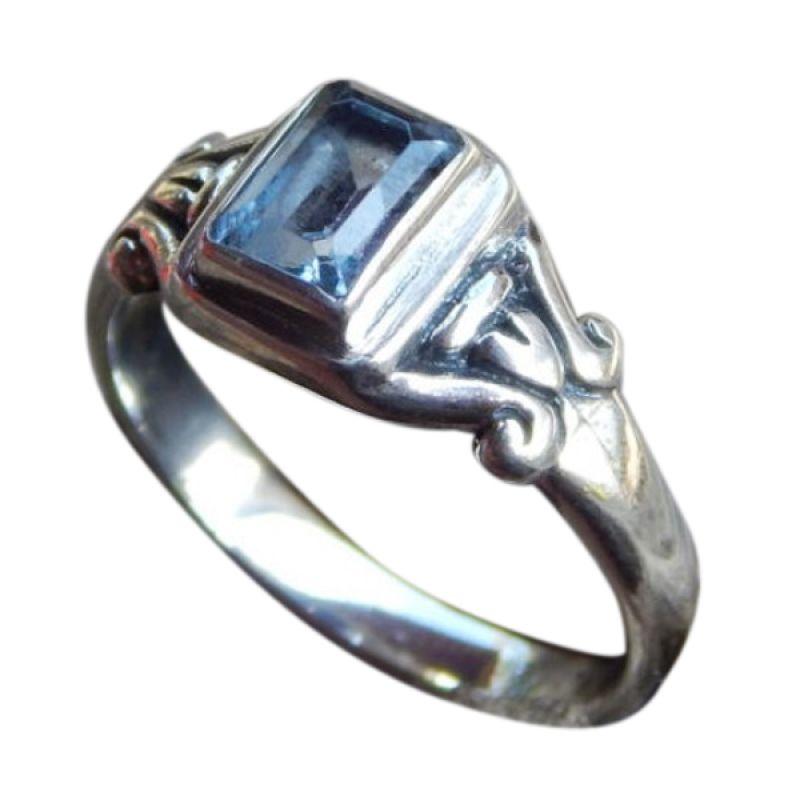 Jnanacrafts Batu Blue Topaz Perak Cincin Wanita