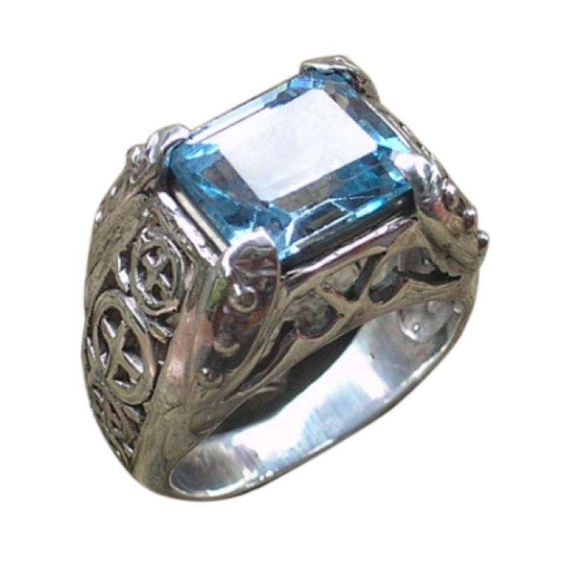 Jnanacrafts Blue Topaz Besar Cincin Perak