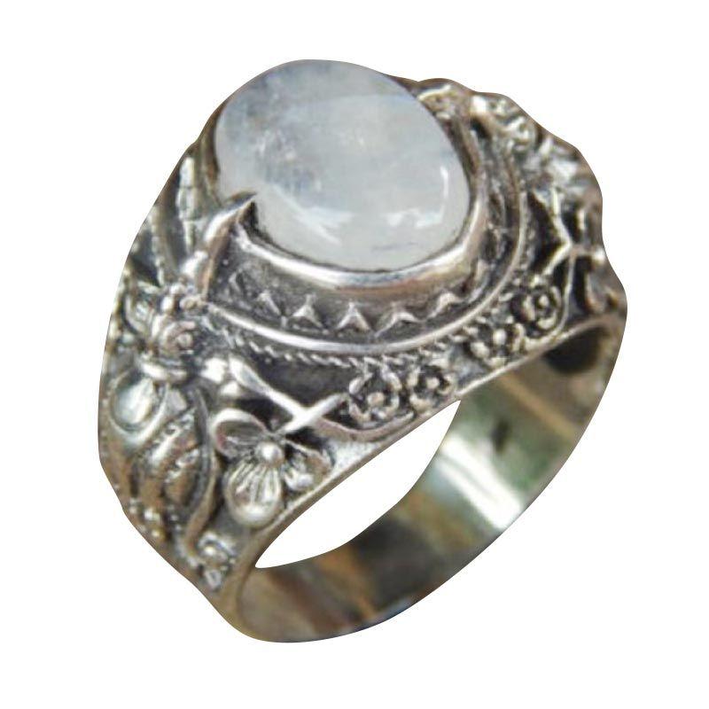 Jnanacrafts Cakrawake Rainbow Moonstone Silver Cincin Pria