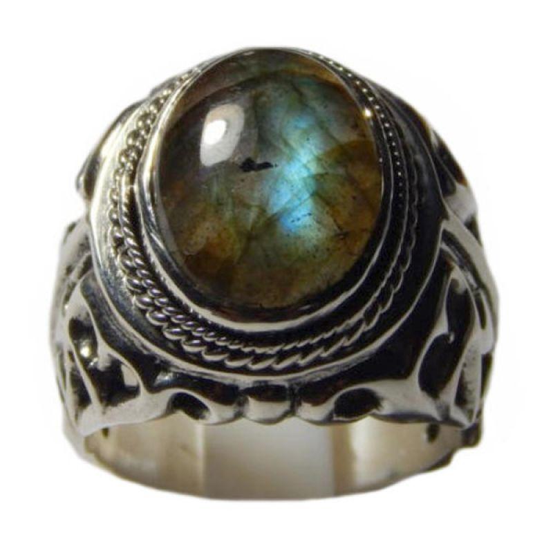 Jnanacrafts Motif Api Batu Labradorite Cincin Perak