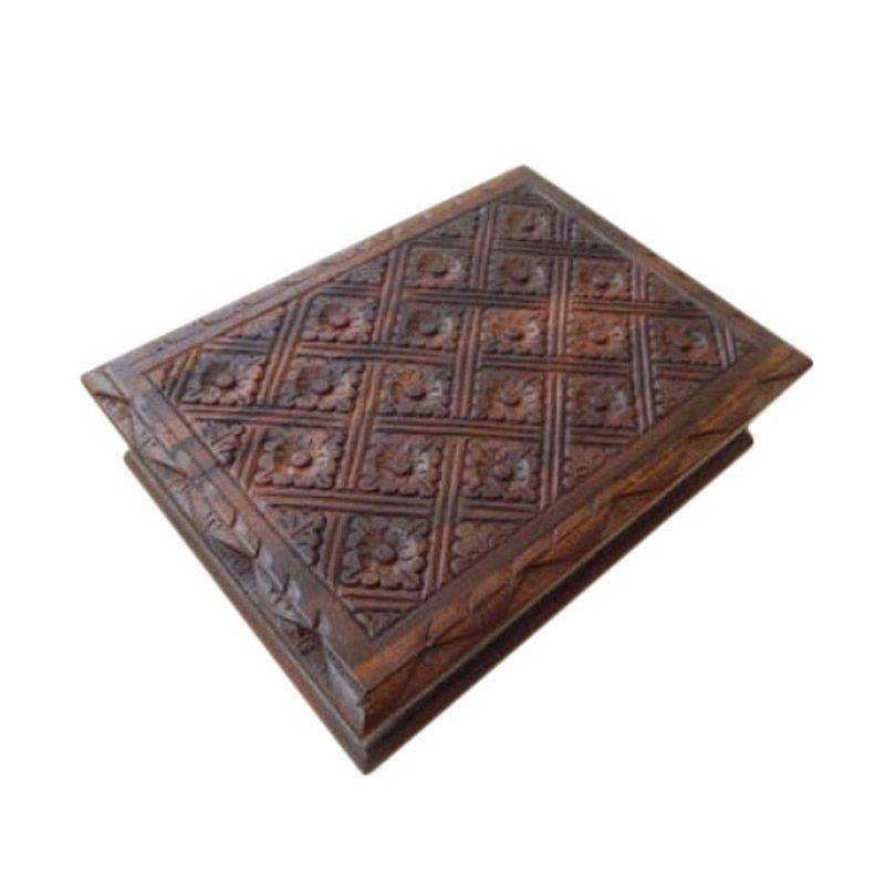 Jnanacrafts Motif Batik Kotak Kayu Besar Tempat Perhiasan [22 x 15]