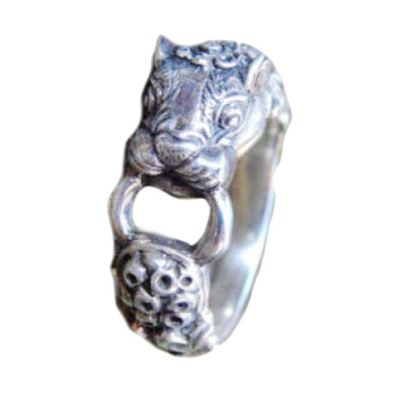 Jnanacrafts Motif Kepala Harimau Perak Cincin