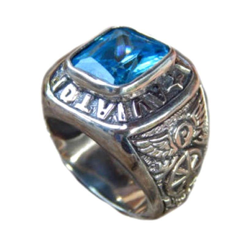 Jnanacrafts Motif Sayap Burung Batu blue topaz Silver Cincin