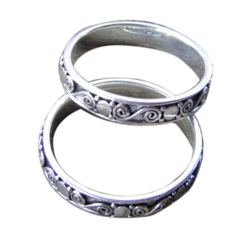 Jnanacrafts Motif Ukiran Bali Silver Cincin Wanita [2Set]