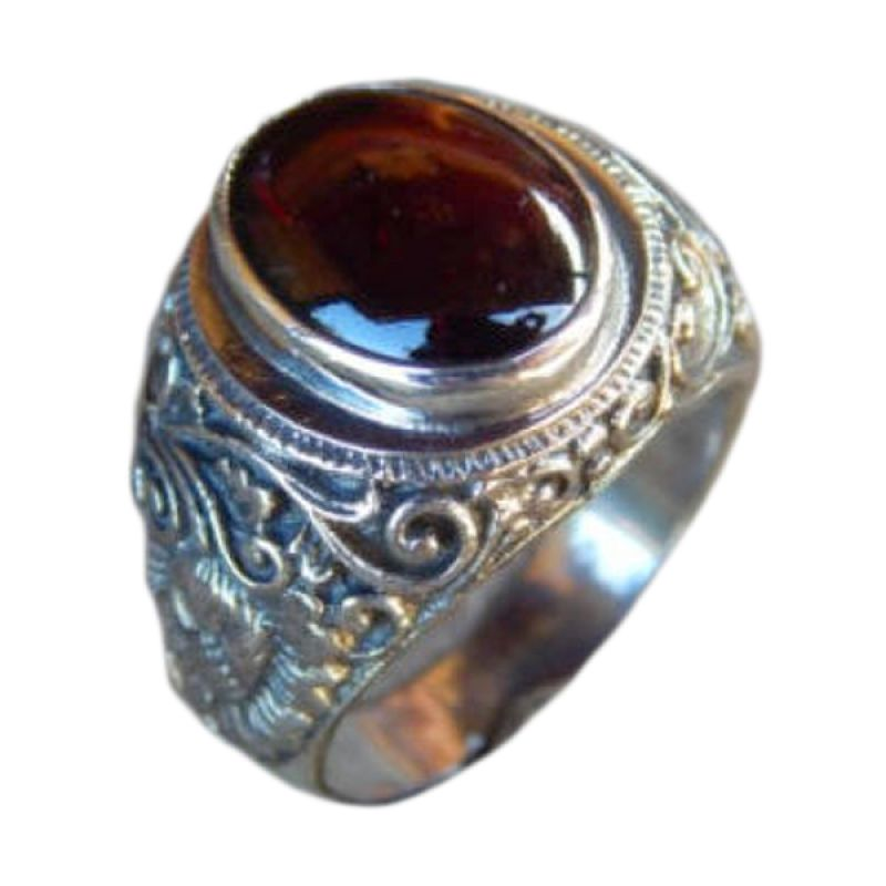 harga Jnanacrafts Motif Ukiran Kembang Bun Batu Garnet Cabochon Silver Cincin Blibli.com