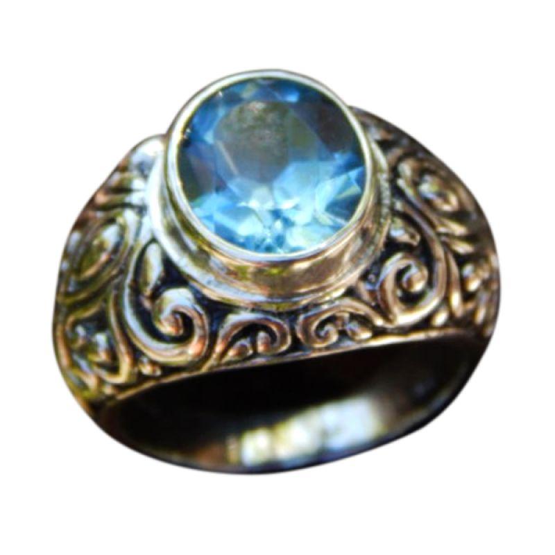 Jnanacrafts Ukir Bali Batu Blue Topaz Cincin Perak