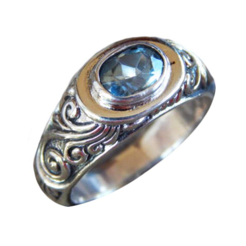 Jnanacrafts Ukir Patra Batu Blue Topaz Silver Cincin