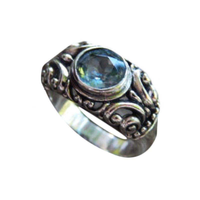 Jnanacrafts Ukir Patra Blue Topaz Silver Cincin