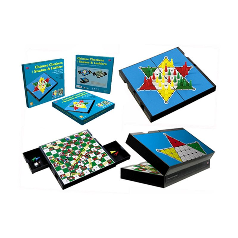 UB 2 In 1 Magnetic Folding Chinese Checkers Snakes And Ladders 3752C Mainan Anak