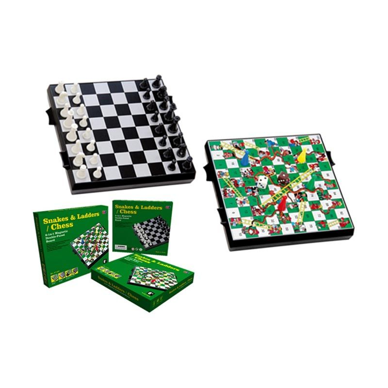 UB 2 In 1 Magnetic Chess Snakes And Ladders 2716C Mainan Anak