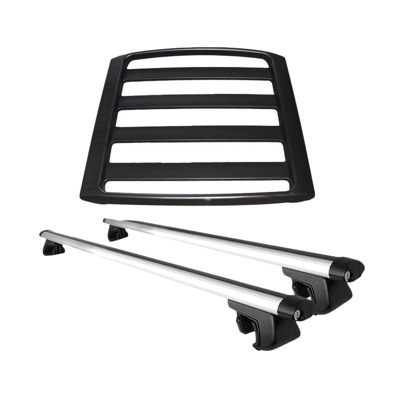 JSL Paket Roof Rack and Cross Bar Model Jepit Roof Rail Universal Perlengkapan Mobil