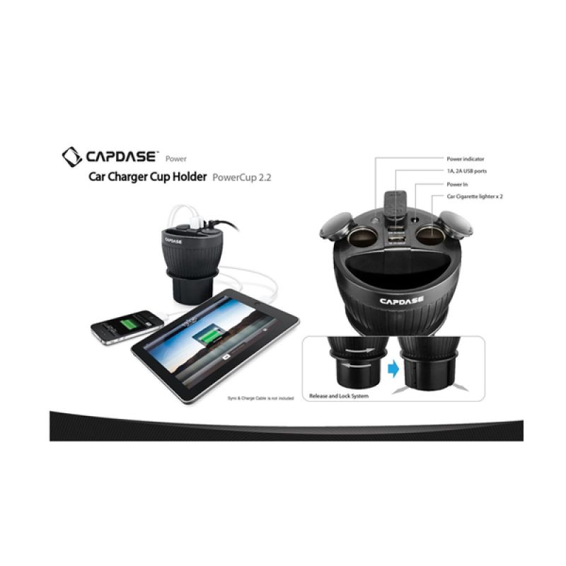 Capdase PowerCup 2.2 Black Cup Holder and Charger