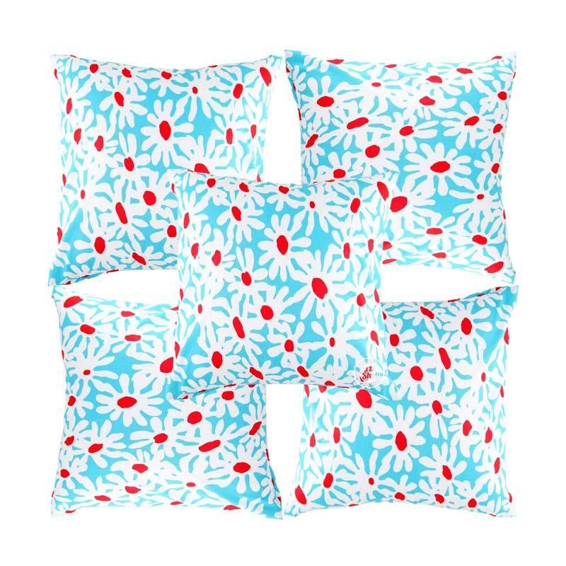 Eolins Bunga Claudia JSPS025 Biru Sarung Bantal Sofa [5 Pcs]