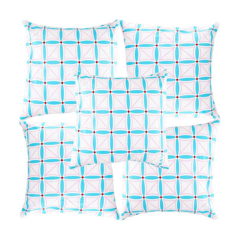 Eolins Ornamen Alexa JSPS026 Biru Sarung Bantal Sofa [5 Pcs]