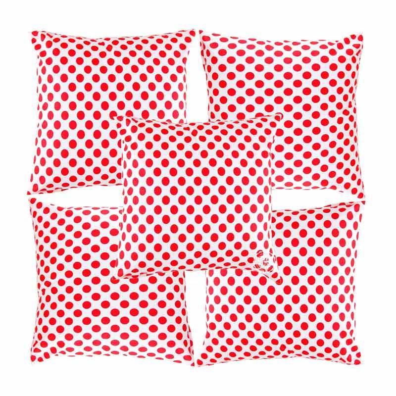 Eolins Polkadot JSPS024 Merah Sarung Bantal Sofa [5 Pcs]