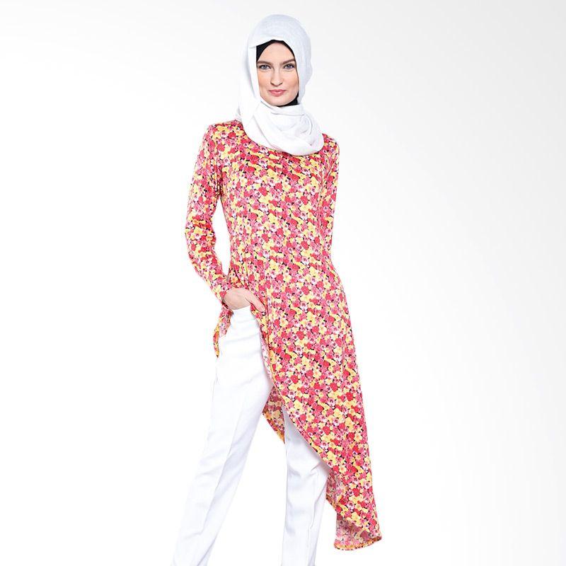 JV Hasanah Flowermetris Red Atasan Muslim Wanita