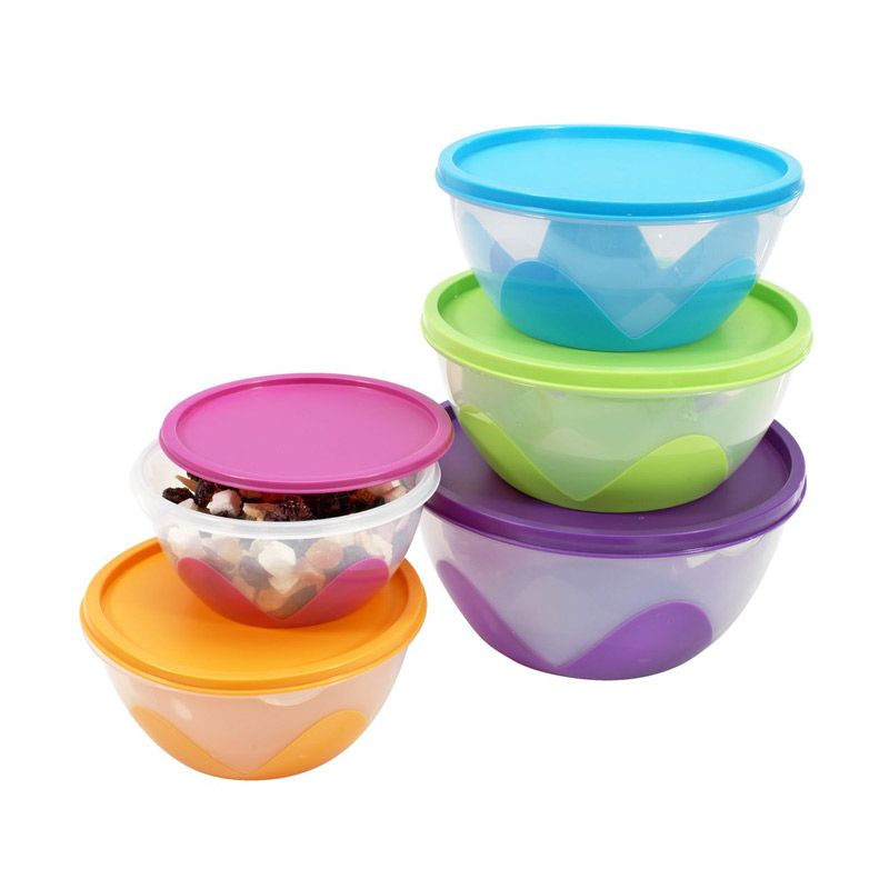 JYSK Mangkuk Soluna with Lid Multicolor Set Kotak Makan [5 Pcs]
