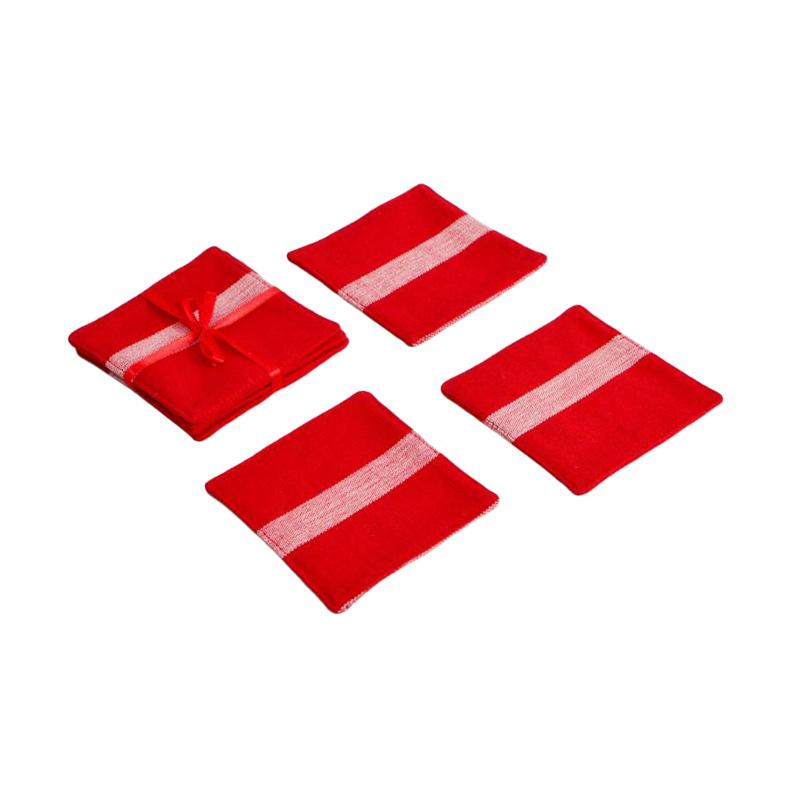 JYSK Coaster Ribbede Red Tatakan Gelas [4 Pcs/Pack/10X10 cm]
