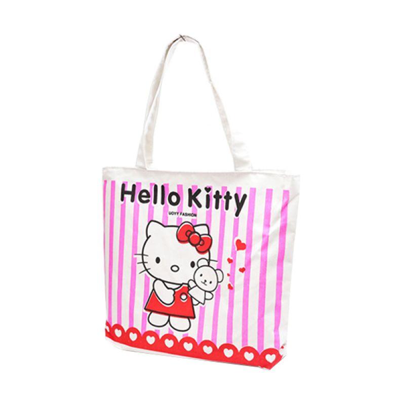Kadomikado Tote Print Kitty Putih Pink Tas Wanita