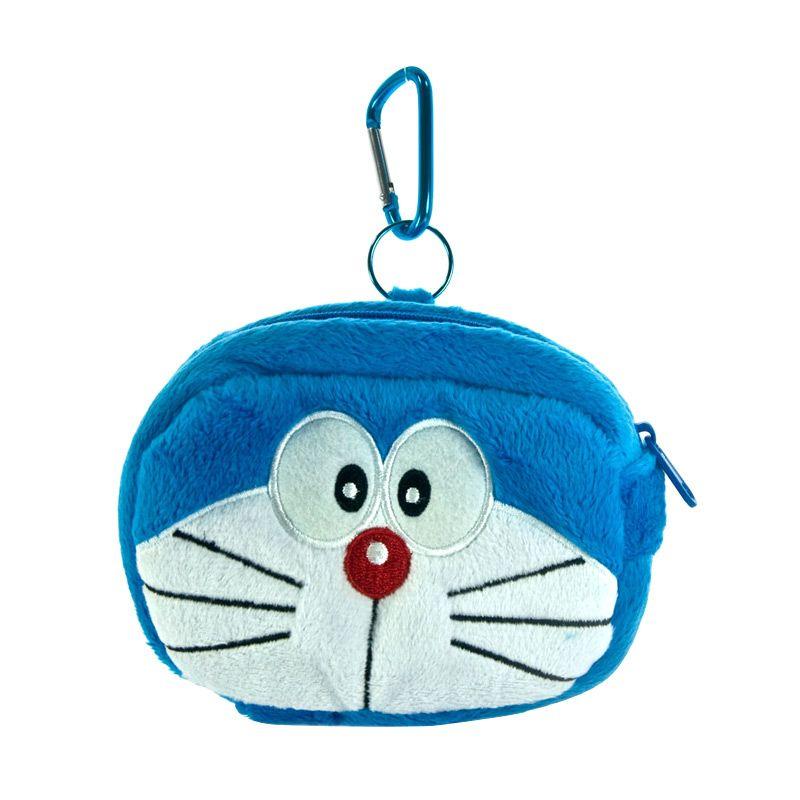 Kadounik Doraemon Face Plush Doll Biru Pouch