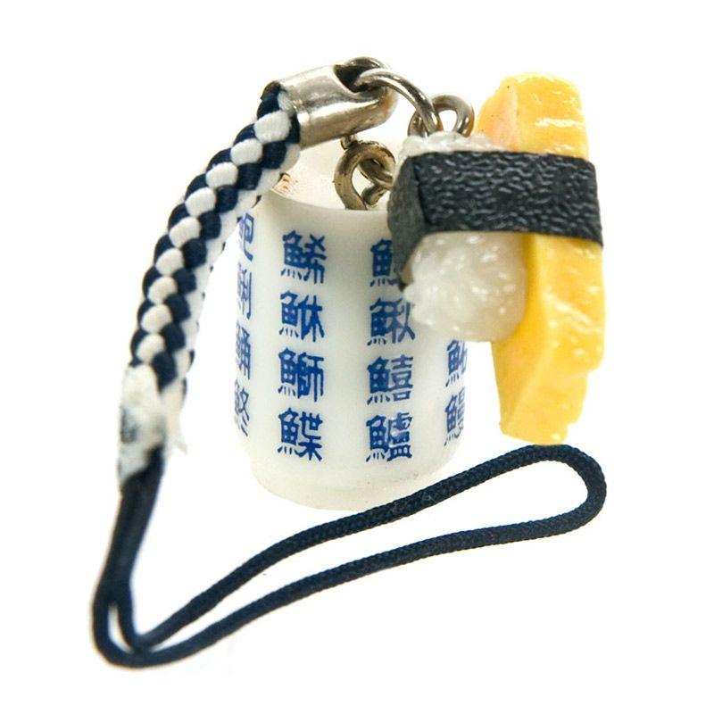 kadounik Fresh Edomae Sushi Netsuke Cell Phone Strap Rolled Egg Gantungan Handphone