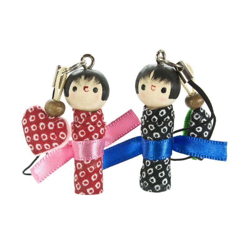 kadounik Hand Made Kokeshi Pair Phone Strap Gantungan Handphone