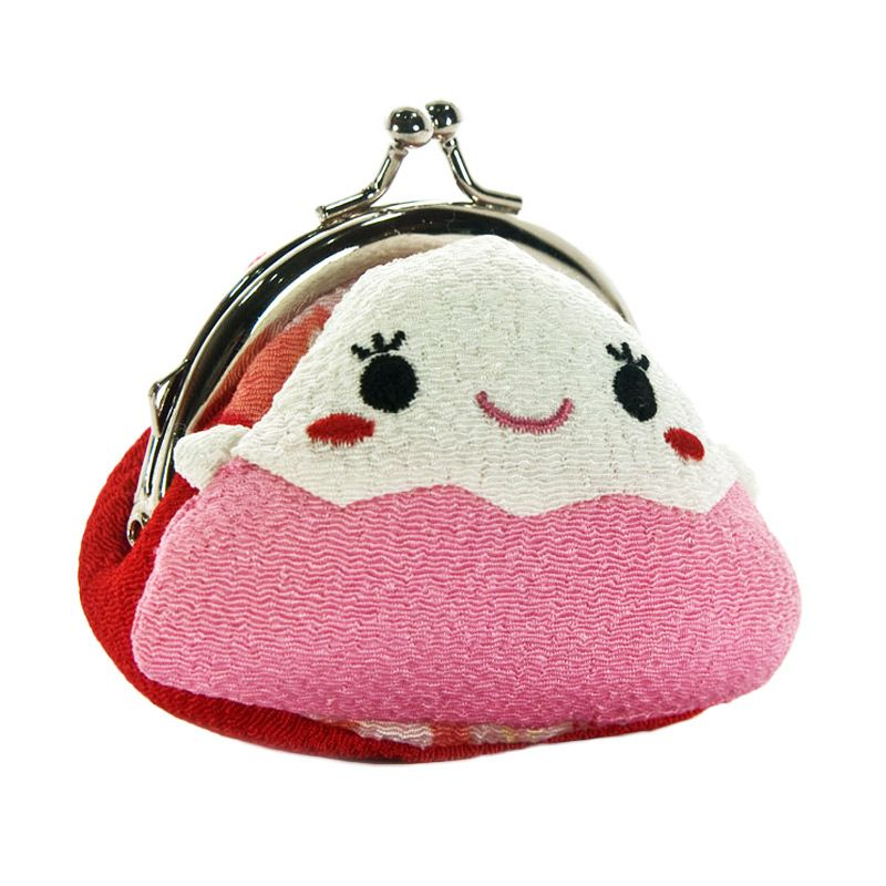KadoUnik Japanese Kawaii Character Chirimen Gamaguchi Purse Pink Dompet