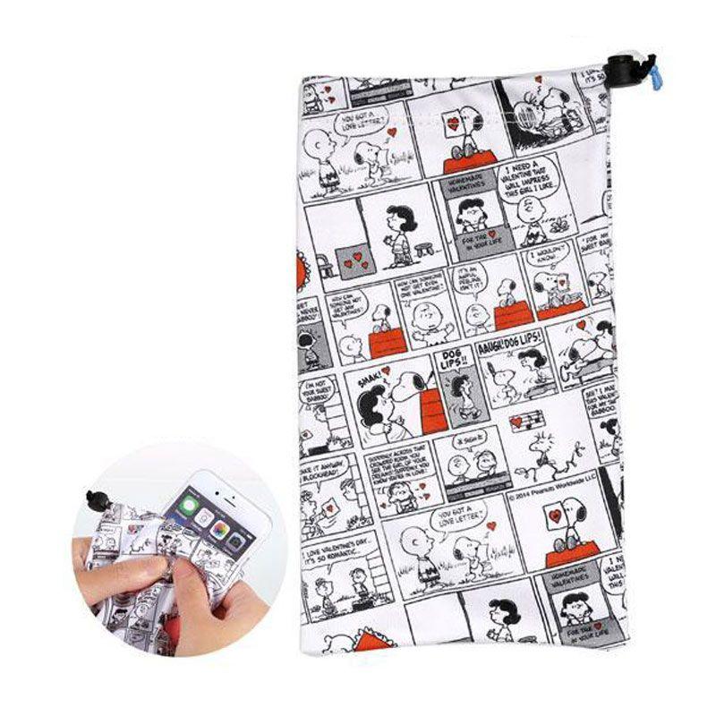Kadounik Kyukyu Character Microfiber Snoopy Comic Cleaner Drawstring Bag Sarung Handphone