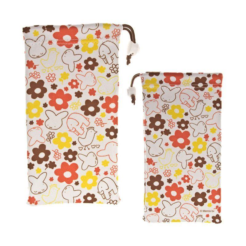 Kadounik Kyukyu Microfiber Miffy Flower Cleaner Drawstring Bag Sarung Handphone