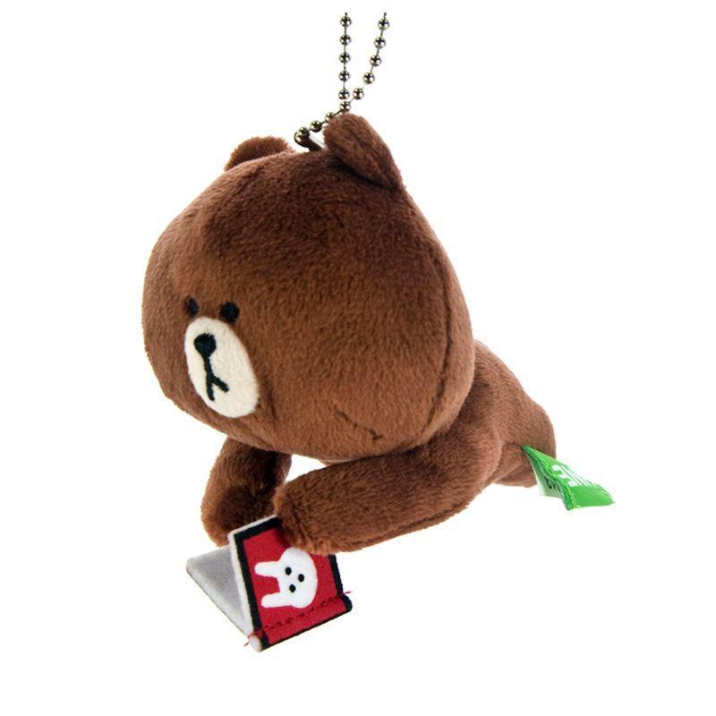 Kadounik LINE Characters Special Edition Ball Brown Reading Chain Gantungan Handphone