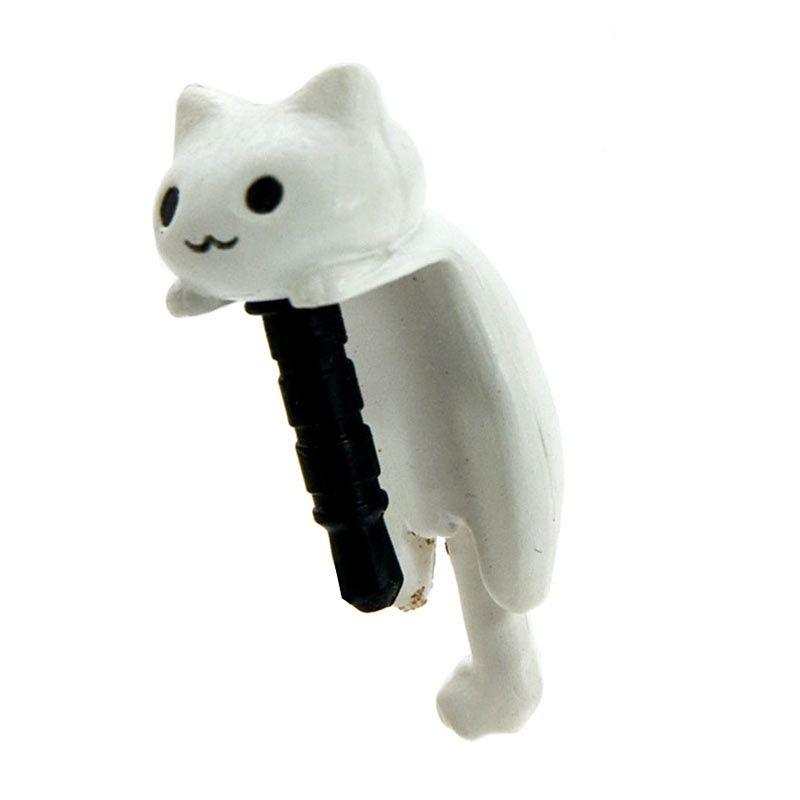 Kadounik Niconico Nekomura Cat Hanging White Penutup Lubang Earphone