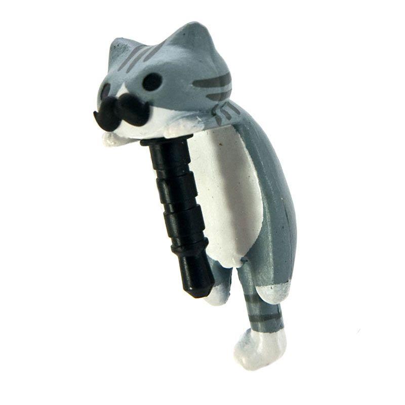 Kadounik Niconico Nekomura Cat Mustache Edition Mimi Grey Penutup Lubang Earphone