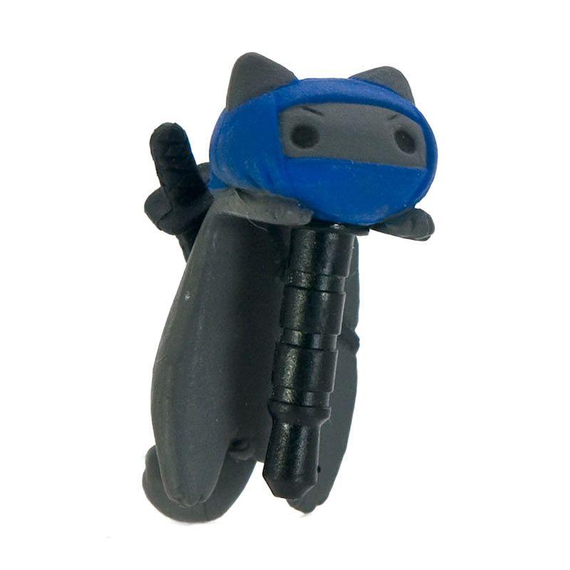 KadoUnik Niconico Nekomura Cat Samurai Edition Ninja Grey Blue Penutup Lubang Earphone